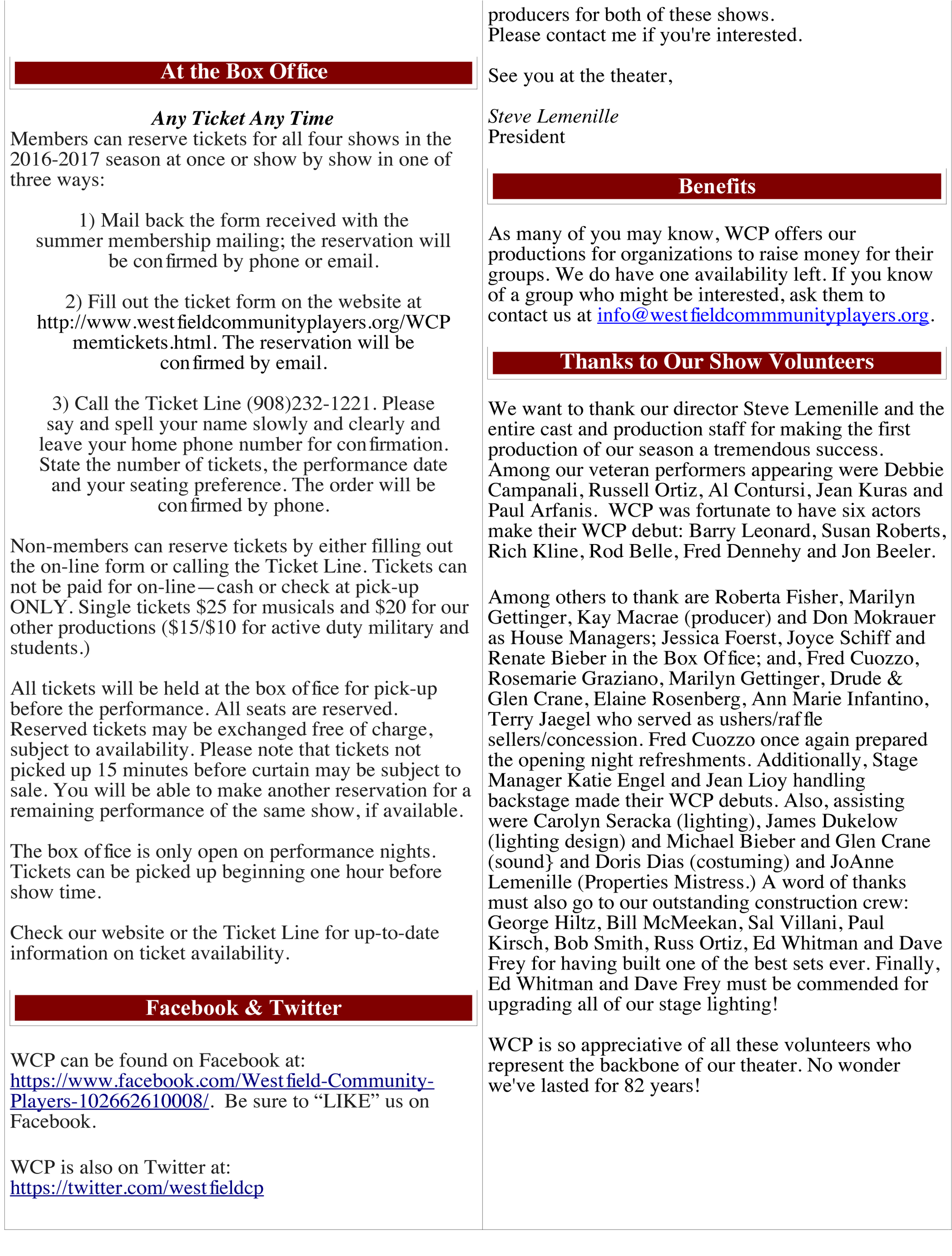Westfield munity Players Newsletter